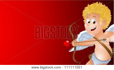 Cartoon Valentine cupid with arrow in front of red background