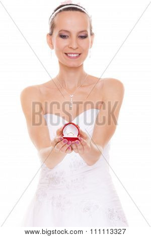 Excited Bride Woman Showing Engagement Ring Box.