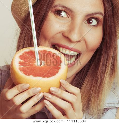 Glad Woman In Hat Eating Biting Grapefruit.