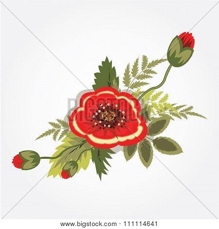 Red poppy bunch. Bouquet, boutonniere. Floral design. Abstract art holiday composition. Rememberance
