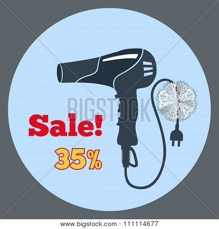 Professional black blow hairdryer icon. Blowdryer, two-pin plug. Christmas sale label with three-dim