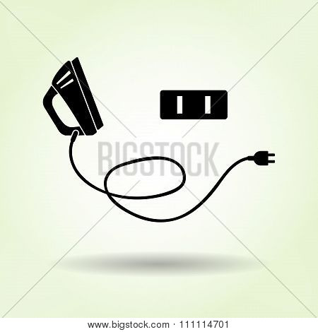Iron icon,  electric American plug. Electric appliance, dress smoothing symbol. Black sign with shad