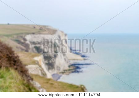 Defocused Background With The White Cliffs Of Dover, Uk