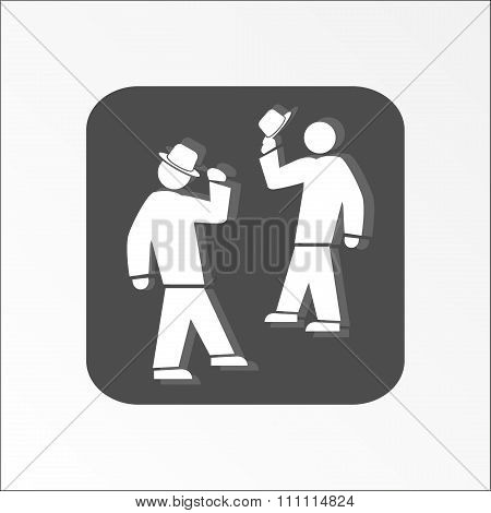 Office web icon. Hat take off. Meeting and greeting symbol.  White 2 people silhouette on dark grey