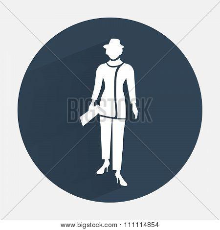 Businesswoman icon. Office worker symbol. Standing elegant women in trousers suit. Round dark gray c