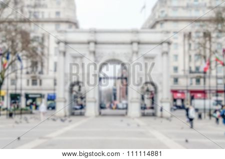 Defocused Background Of Marble Arch In London, Uk