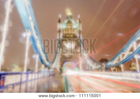 Defocused Background Of Tower Bridge At Night In London