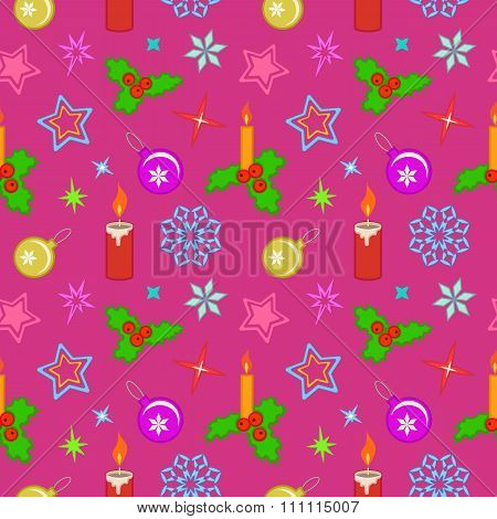 Seamless christmas pattern. Colored holly berry, candles, light, balls, stars, snowflakes on magenta