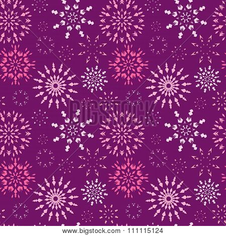 Christmas seamless pattern. Light color snowflake signs on dark, purple, vinous, lilac background. W