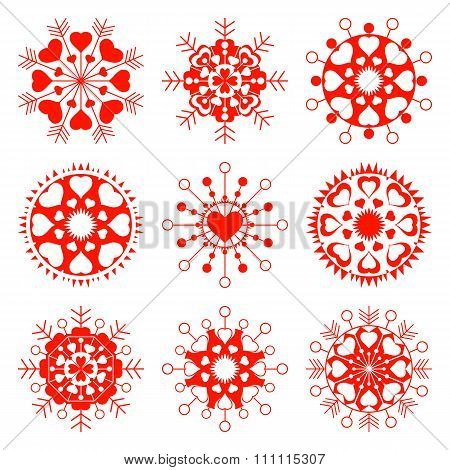 Ssnowflake, heart view icon set. Christmas, Valentine day, birthday symbol. Stars, flakes with heart