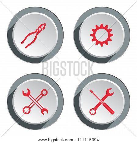 Screwdriver, cogwheel, pliers, wrench key icon, bolt nut. Repair fix tool symbol. Round 3d grey butt