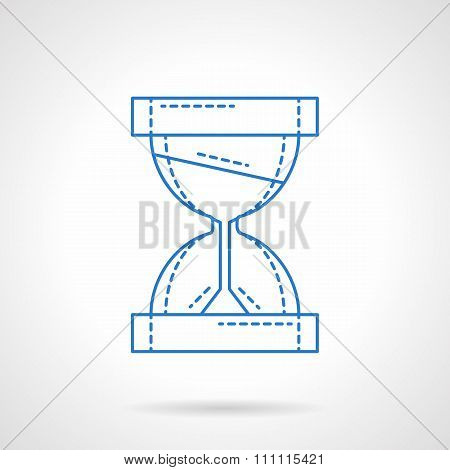 Hourglass blue line vector icon