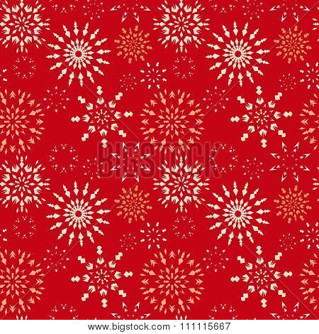 Christmas seamless pattern. Light snowflake signs on bright red background. Winter theme retro textu