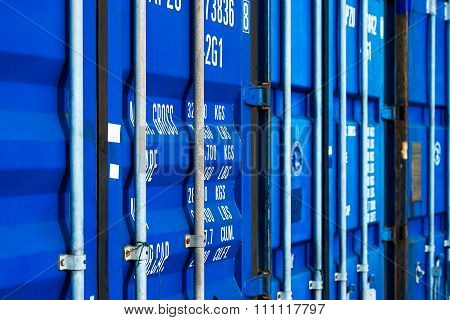 freight container close-up, heavy industry and shipping concept.