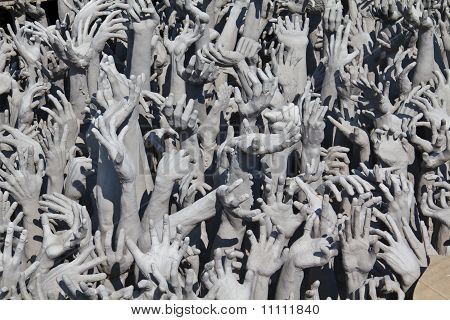 Sculptural Composition At Wat Rong Khun Temple In Chiang Rai, Thailand