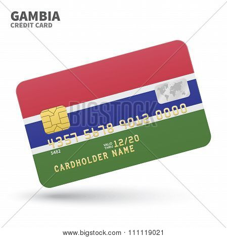 Credit card with Gambia flag background for bank, presentations and business. Isolated on white