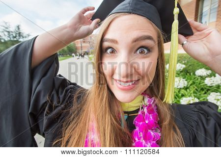 Excited College Student