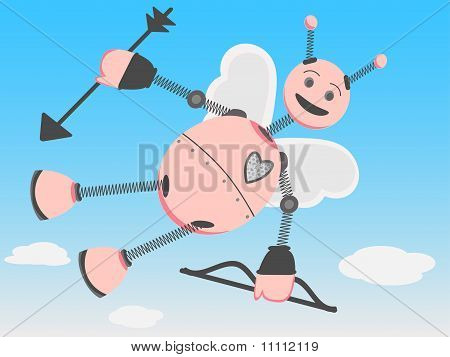 Robot Cupid Flying Through The Day Sky With Bow And Arrow