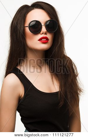 Pretty young sexy sensual woman. oversized round black sunglasses fashion