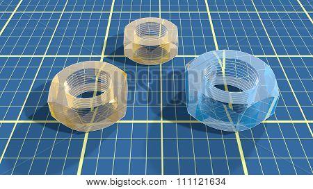 Transparent Nuts On Blueprint Paper Plan Textured Background