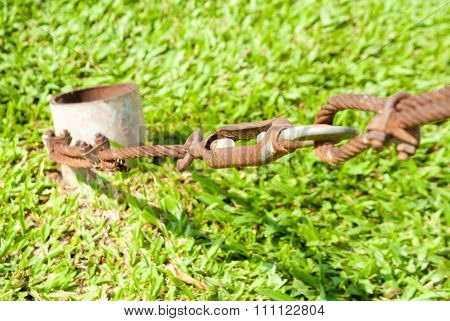 The Old Shackle And Wire Sling Rusty And Grass Background