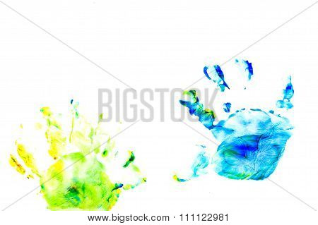 Abstract Oil Color. Prints Of Children's Handprints.