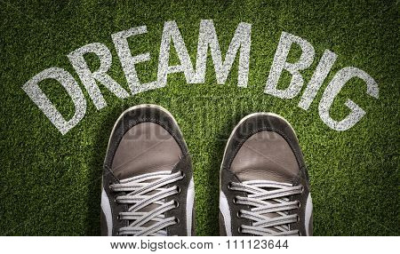 Top View of Sneakers on the grass with the text: Dream Big