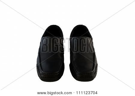 Black Leather Men's Shoes White Blackground