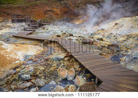Wooden boardwalk at the Krysuvik Geothermal Area in Reykjanes Peninsula of Southern Iceland