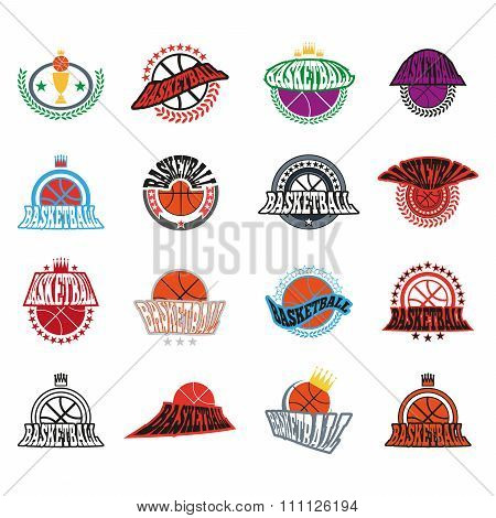 Basketball Text Badges Variations