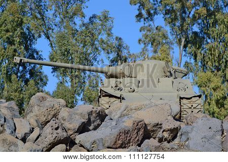 British Centurion Tank Installed At The Memorial At The Katzrin