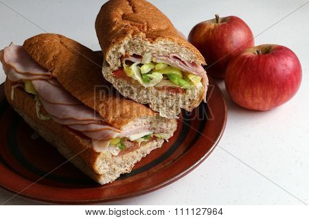Sub sandwich cut in two on brown plate with apples.
