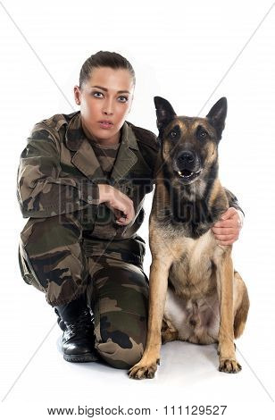 Woman Soldier And Malinois