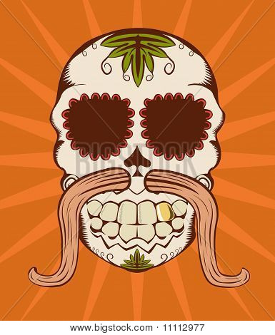 Vector Illustration Of Orange Sugar Skull