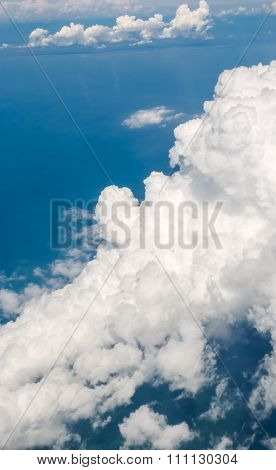 white cloud and blue skyview from airplane