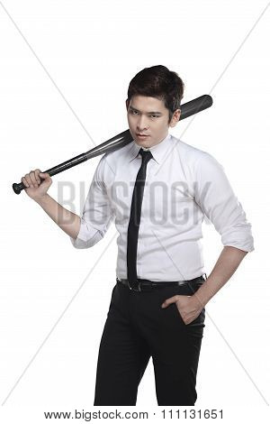 Young Business Man Holding Baseball Bat