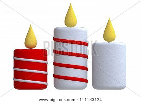 Three candles in plasticine or clay style.