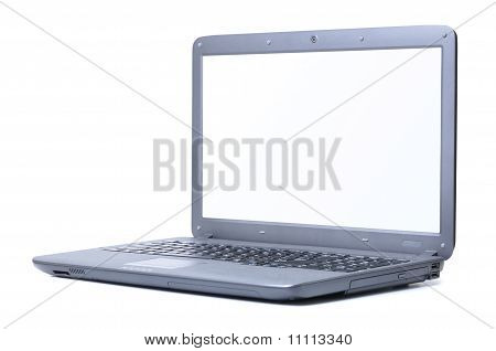 Modern Laptop Isolated On White. Screen Is Cut With Clipping Path