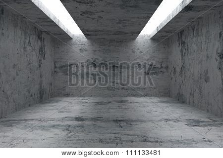 Empty Room With Concrete Walls And Opening In Ceiling