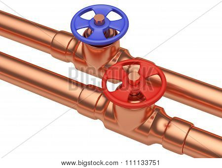 Blue And Red Valves On Copper Pipes, Diagonal View
