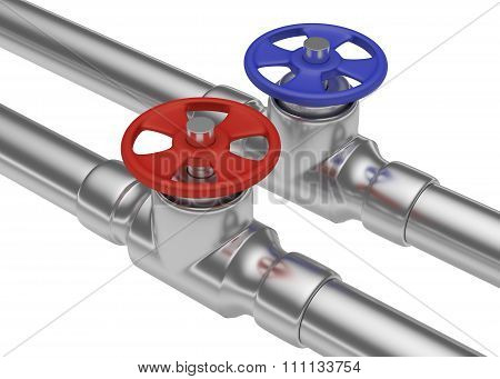 Red And Blue Valves On Steel Pipes Closeup