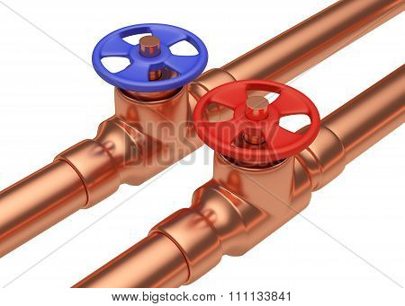 Red And Blue Valves On Copper Pipes Diagonal View