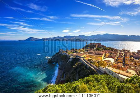 Elba Island, Portoferraio Aerial View. Lighthouse And Fort. Tuscany, Italy.