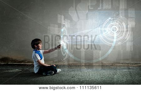 Child Using Mobile Phone, Little Kid Boy Playing Cellular Smart Telephone in Hand