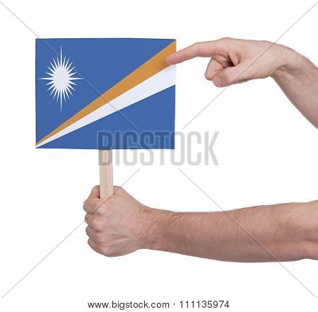 Hand Holding Small Card - Flag Of Marshall Islands