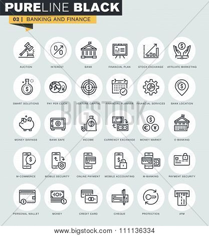 Set of thin line web icons of banking and finance