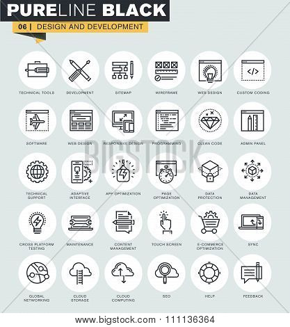 Set of thin line web icons of web design and development.