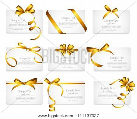 Card with Gold Ribbon and Bow Set. Vector illustration