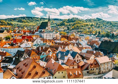 St. Vitus Church and cityscape Cesky Krumlov, Czech republic