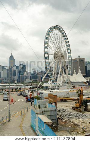 HONG KONG - MAY 06, 2015: cunstruction progress of The Hong Kong Ovservation Wheel in May. The Hong Kong Ovservation Wheel is 60-meter tall ferris wheel in Central waterfront promenade